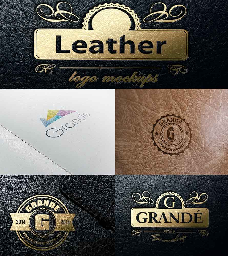 PSD Шаблон Leather Logo Mock-ups (том 1)