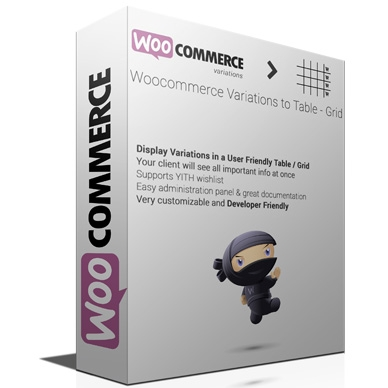 Woocommerce Variations to Table Grid